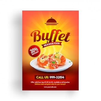 Buffet flyer oder menügestaltung mit rabattangebot.