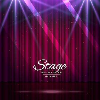 Bühne mit geschlossenen Vorhängen und Scheinwerfern