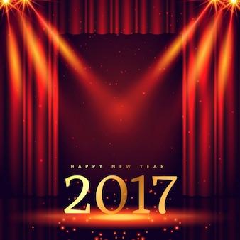 Bühnenhintergrund mit 2017 golden Text und Lichter