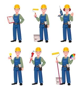 Builder-cartoon-zeichensatz von sechs posen. junger bauarbeiter im schutzhelm