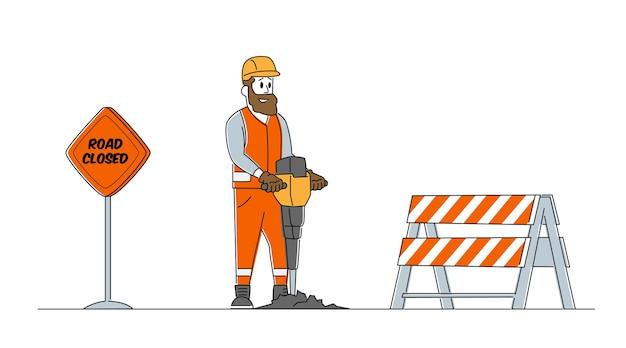 Builder character mit pneumatischem presslufthammer-bohrer, der asphalt bricht