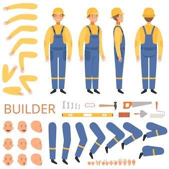 Builder-charakteranimation. körperteile kopf arme kappe hände ingenieur oder erbauer männlichen maskottchen creation kit