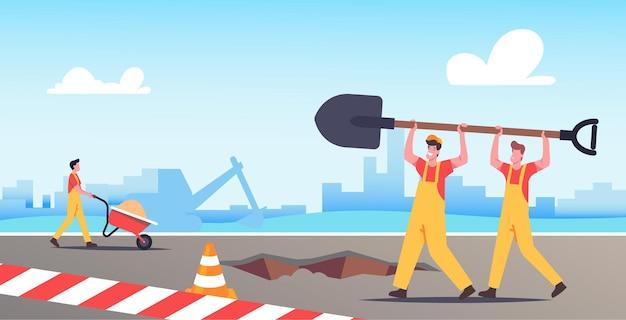 Builder-charaktere mit riesiger schaufel zum graben von erde