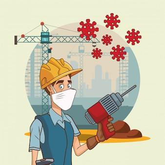 Builder mit bohrer mit gesichtsmaske