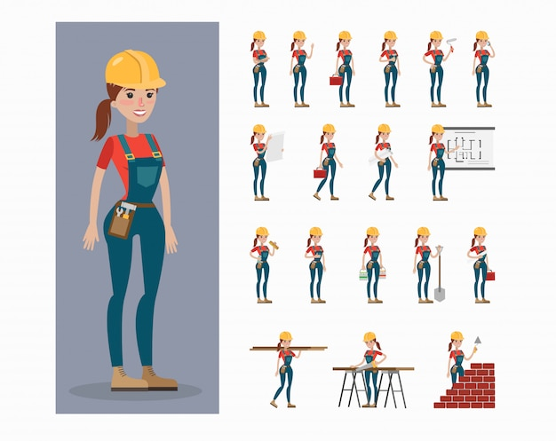 Builder-zeichensatz. frau in uniform und helm posiert und gestikuliert.
