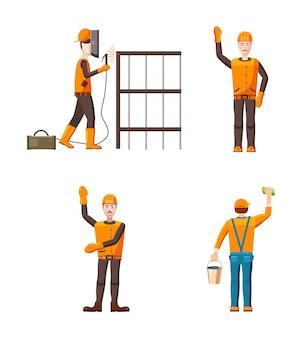 Builder-zeichensatz. karikatursatz des erbauers