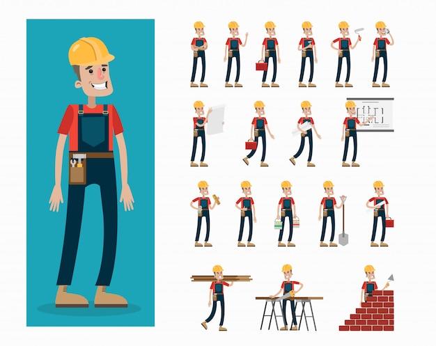 Builder-zeichensatz. mann in uniform und helm posiert und gestikuliert.