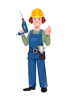 Builder-zeichentrickfigur mit bohrmaschine