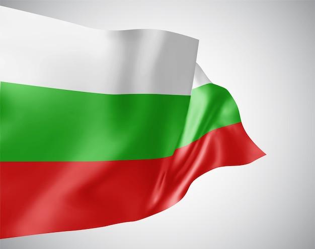 Bulgarien, vektorflagge mit wellen und kurven im wind auf weißem hintergrund.