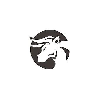 Bull büffel bison kopf horn symbol vektor logo design