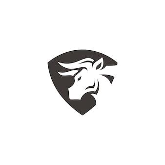 Bull buffalo bison head horn und schild symbol vektor logo design