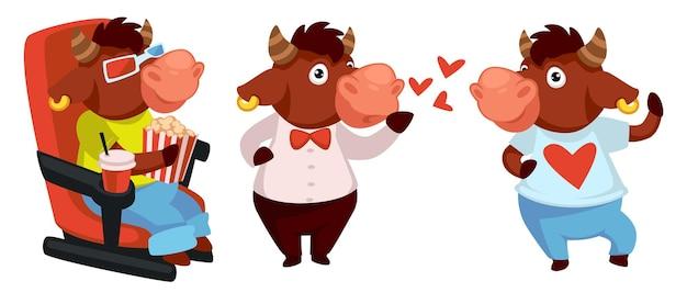 Bull-charakter, der sich im kino entspannt, filme sieht und popcorn isst. ochse mit t-shirt mit herz. schöner büffel, der luftküsse sendet. verliebte tierpersönlichkeit. symbol für 2021. vektor im flachen stil