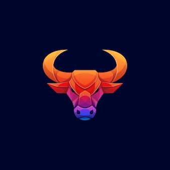 Bull head buntes geometrisches lowpoly-logo