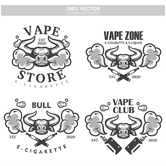 Bull head vapor e-zigarette vape vaporizer zigarette vape vaporizer elektrische elektronische rauch vaping etiketten set vintage-stil logo.
