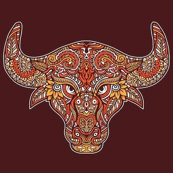Bull head wildlife animal mit dekorativem paisley-muster