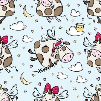 Bull im flug, kuh im himmel mit weihnachtsbaumzweig und weihnachtsmütze, nahtloses muster