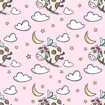 Bull in the sky mit weihnachtsbaumzweig. nettes tier hand gezeichnetes nahtloses muster