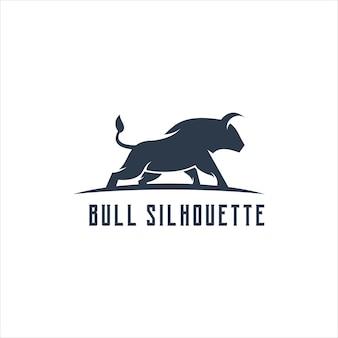 Bull-logo-silhouette retro-illustration
