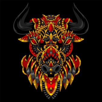 Bull mandala zentangle illustration und t-shirt design
