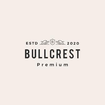 Bull wappen hipster vintage logo symbol illustration