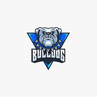 Bulldog angry pose e sport maskottchen logo