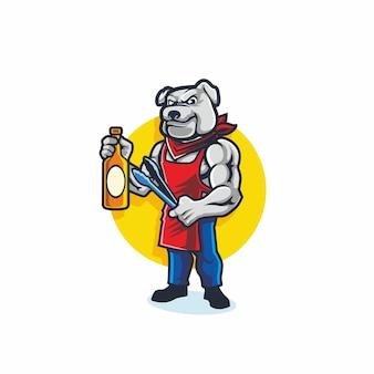 Bulldog bbq cartoon esport logo maskottchen vektor