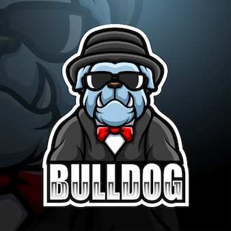 Bulldog mafia maskottchen esport logo illustration