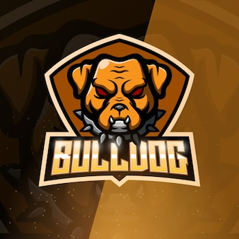 Bulldog maskottchen esport illustration