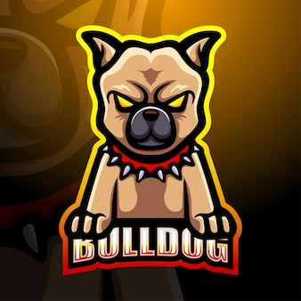 Bulldog maskottchen esport logo illustration