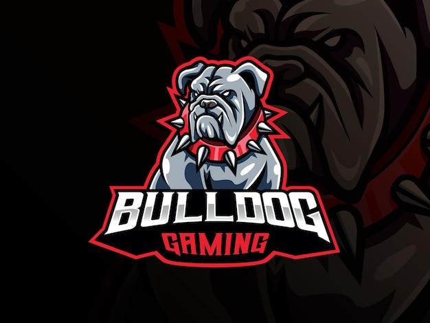 Bulldog maskottchen sport logo. hundekopf maskottchen logo. wildes bulldoggen-maskottchen für das esport-team.