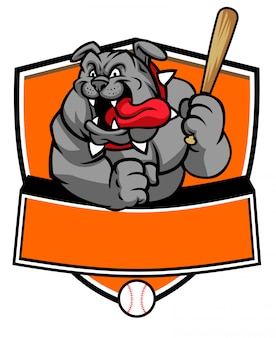 Bulldogge baseball maskottchen halten den baseballschläger