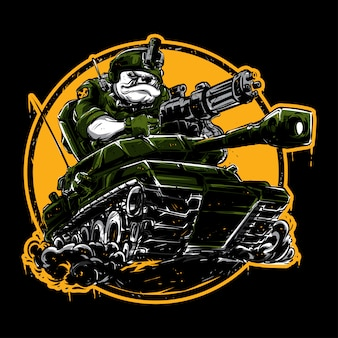 Bulldogge, die einen panzer fährt