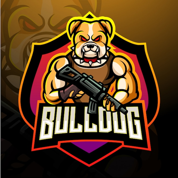 Bulldogge esport logo maskottchen design