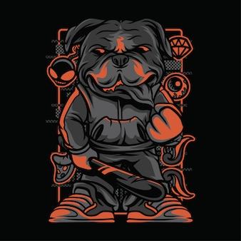Bulldogge fledermaus neon graustufen illustration