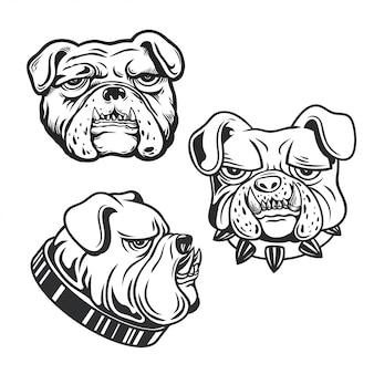 Bulldogge kopf logo aufkleber