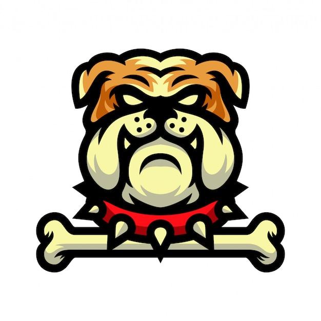 Bulldogge maskottchen mit knochen logo vektor-illustration