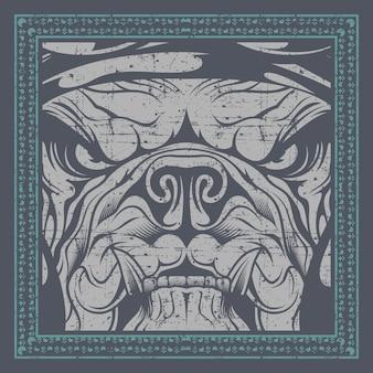 Bulldogge nah oben im rahmen, illustration, einfach zu redigieren
