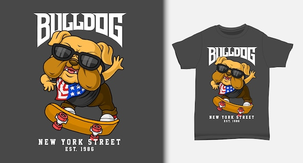 Bulldogge spielt skateboard. mit t-shirt design.