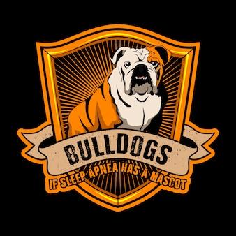 Bulldoggen-zitat und slogan-plakat. bulldoggen, wenn schlafapnoe ein maskottchen war.