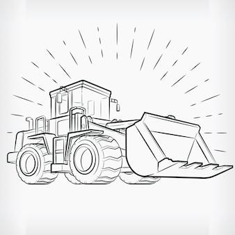 Bulldozer doodle baumaschine handzeichnung skizze