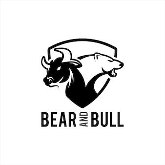Bullen- und bären-logo bullische aktien