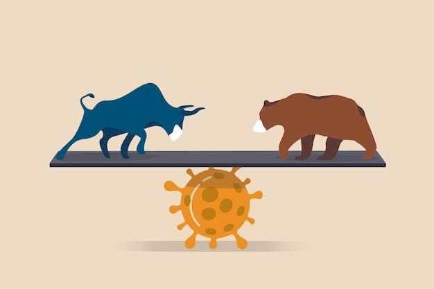 Bullen- und bärenmarkt in coronavirus covid-19 pandemie auswirkungen aktienmarkt und weltwirtschaftskonzept, bullen und bären tragen schützende gesichtsmaske balance auf coronavirus-erreger.