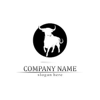 Bullenhorn und büffel-logo und symbolschablonenikonen-app