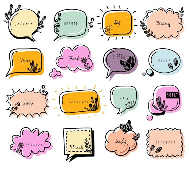 Bullet journal doodle elemente sammlung. sammlung von gekritzelblasen. farbig, mit blumen verziert. dialogbox. wolken