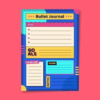 Bullet journal planer in lebendigen farben