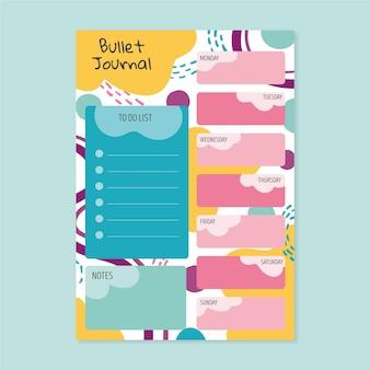 Bullet journal planer mit bunten formen