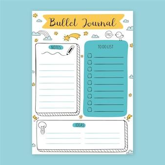 Bullet journal planer mit gezeichneten elementen