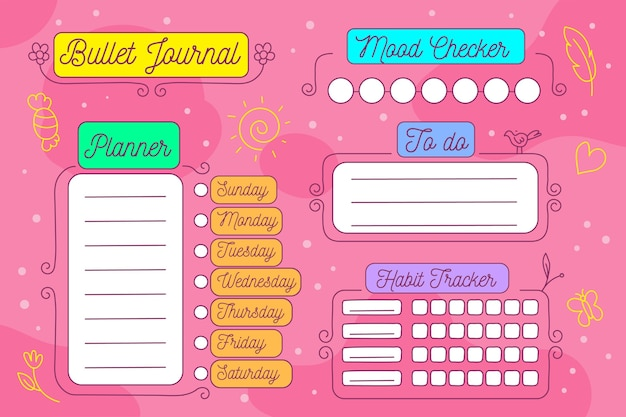 Bullet journal planer vorlage mit verschiedenen bunten elementen