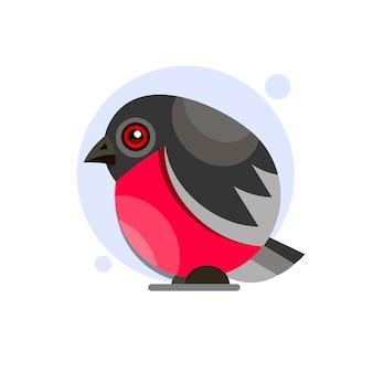 Bullfinch auf einem zweig. farbige vektorabbildung.