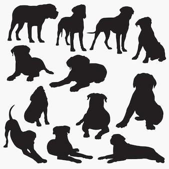 Bullmastiff dog silhouettes